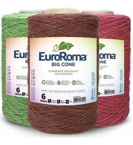 Kit 3 Barbante Euroroma 1.8kg Colorido N°6 Cores Variadas