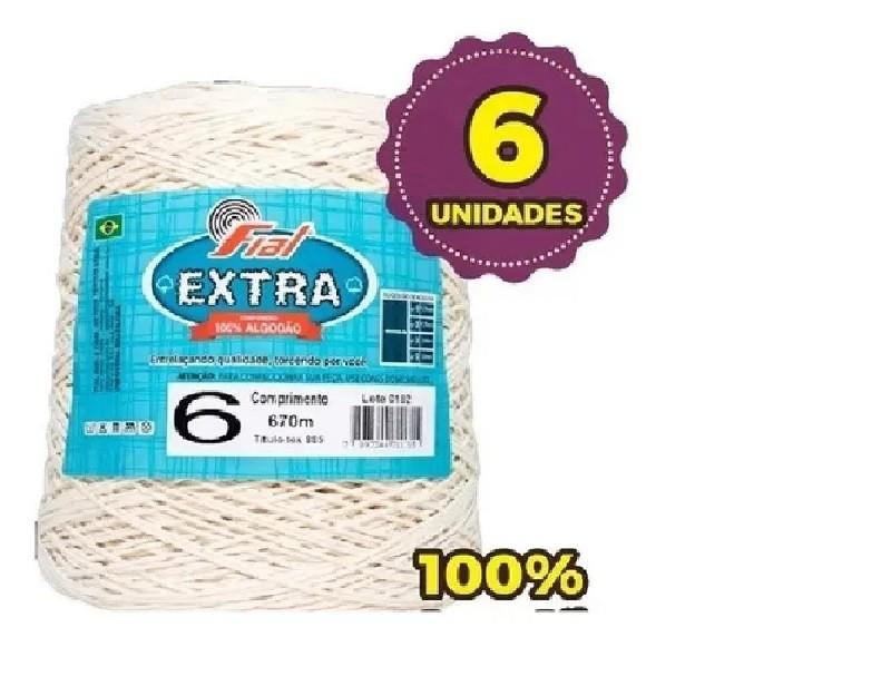 Kit 6 Barbantes Fial Extra Crú 100% Algodão - Fio 6 - 600G
