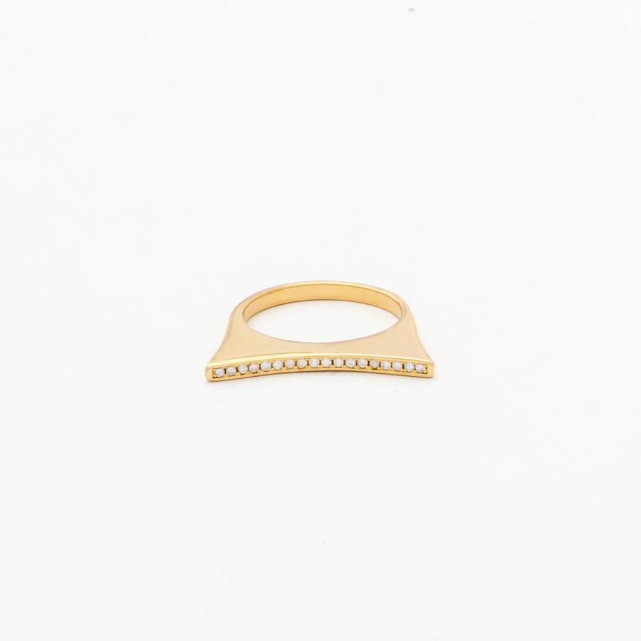 Anel abaulado fino banhado ouro 18k