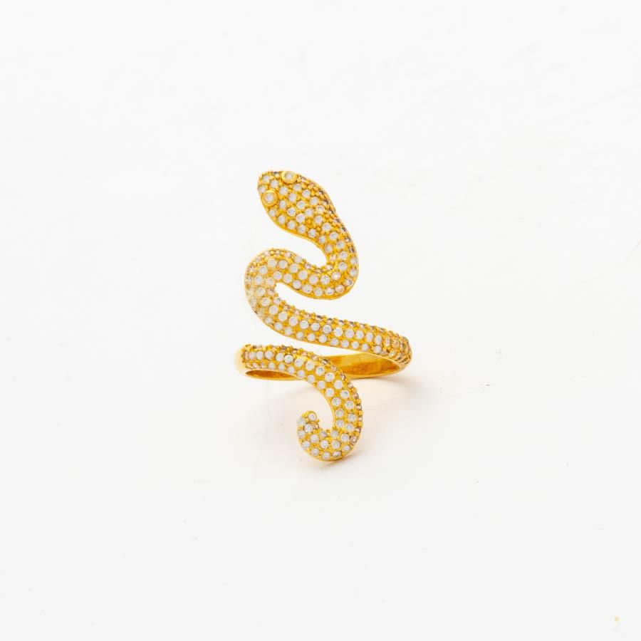 Anel cobra cravejada banhado ouro 18k