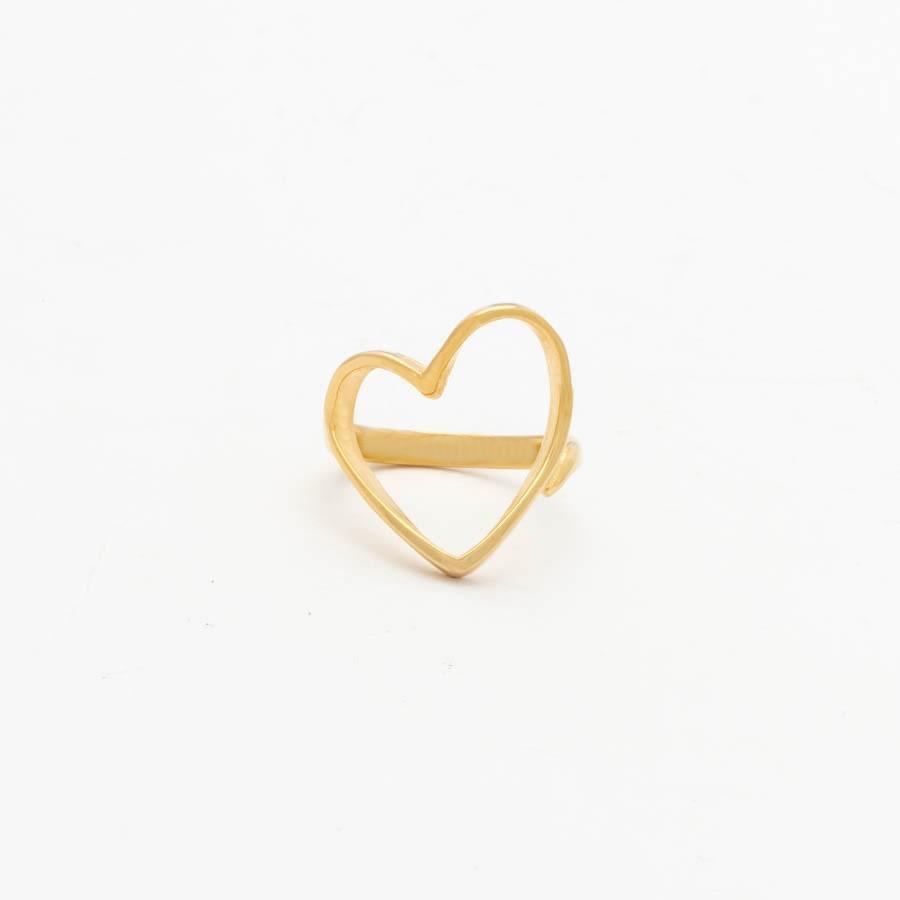 Anel coração banhado ouro 18k