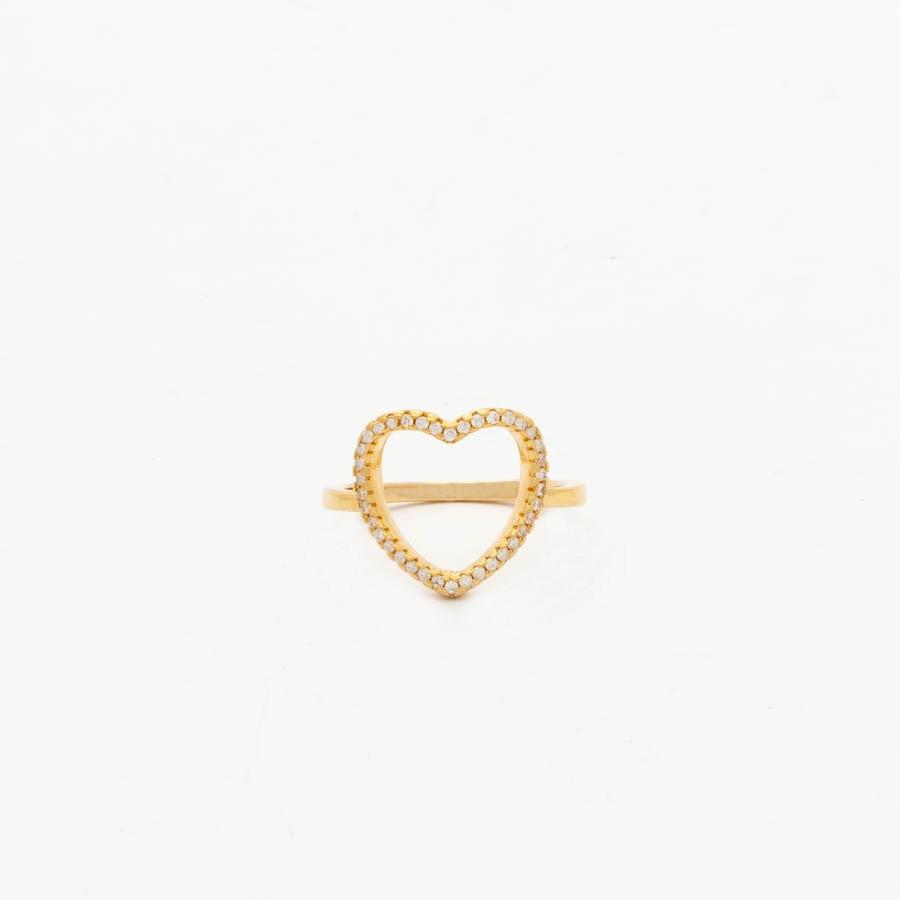 Anel Coração Cravejado  Banhado Ouro 18k