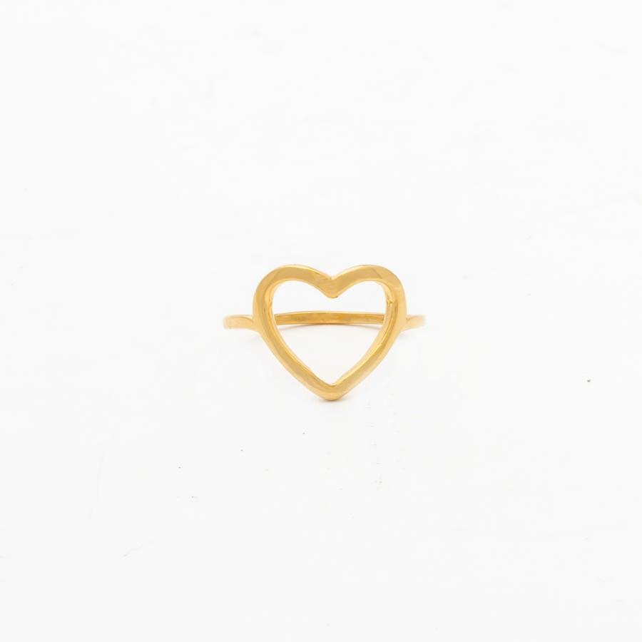 Anel Coração Vazado Banhado Ouro 18k