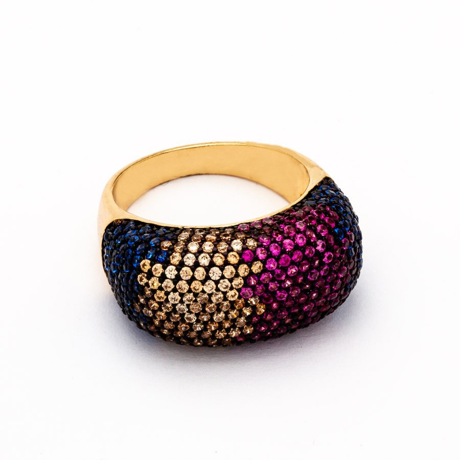 anel cravejado zirconia colorida banhada ouro 18k
