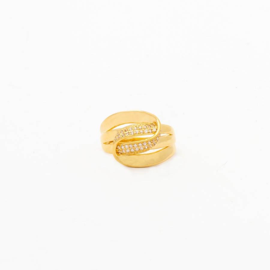 Anel de volta cravejada banhado ouro 18k