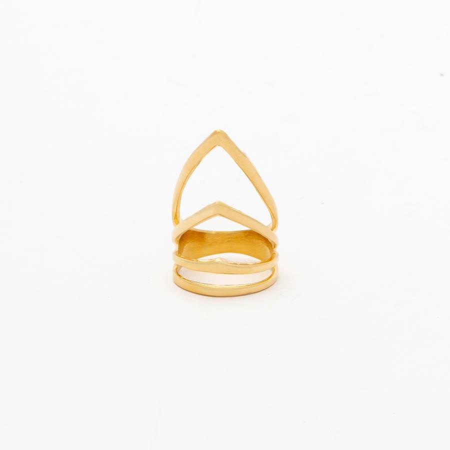 Anel em bico  banhado ouro 18 k