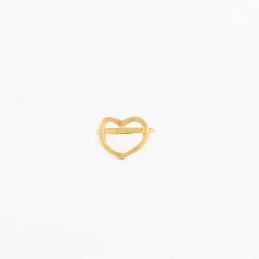 Anel falange coração vazado banhado ouro 18k