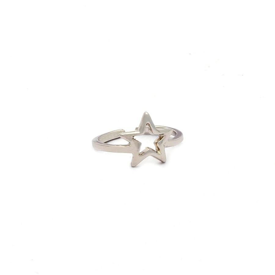 Anel falange estrela banhado rodio branco