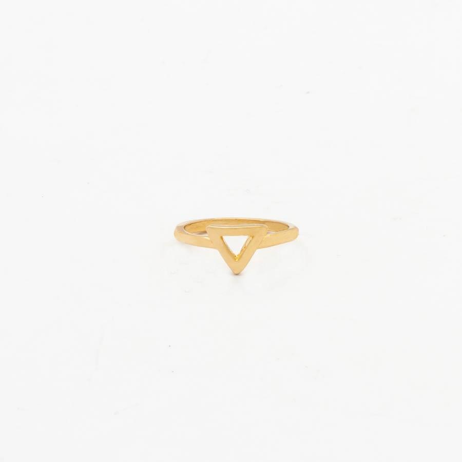 Anel Falange Triangulo Banhado Ouro 18k