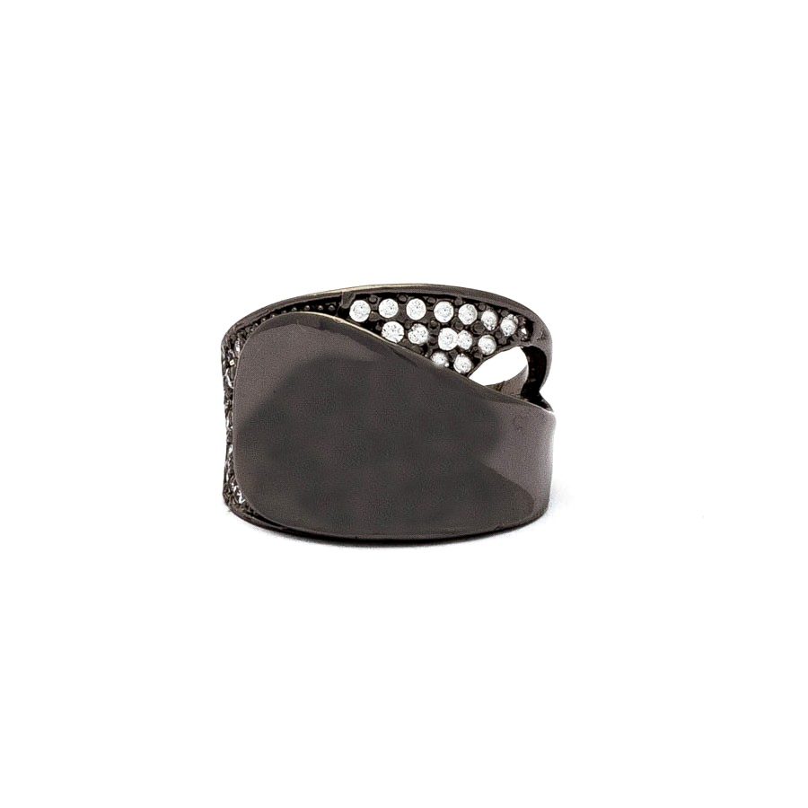 Anel liso zirconia banhado em ródio negro