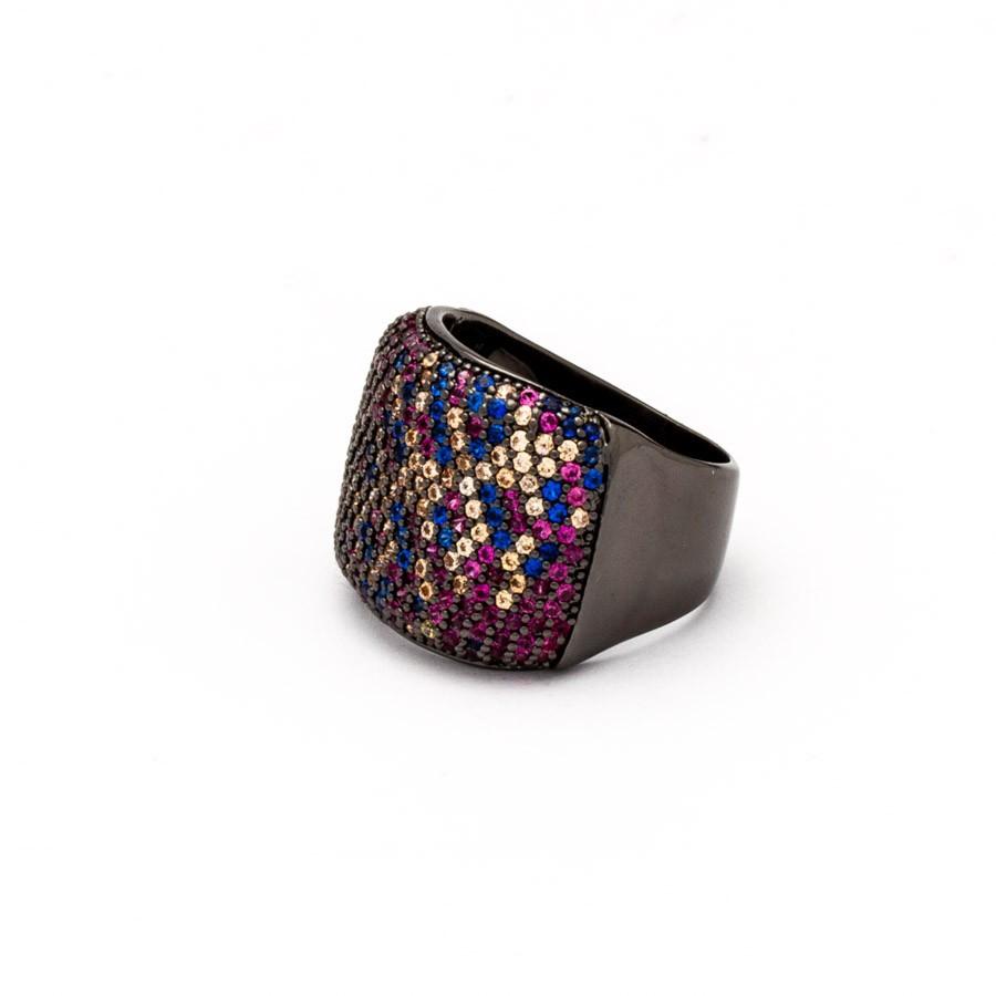 Anel Maxi zirconia colorida banhada ródio negro