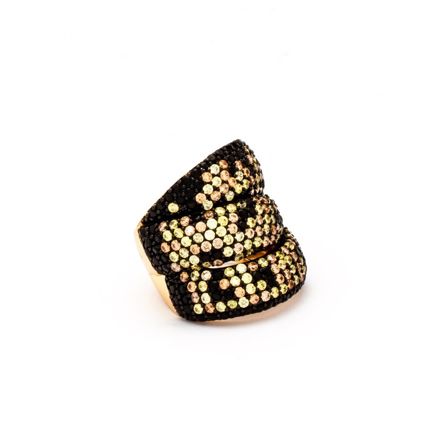 Anel Maxi zirconia dourada banhada ouro18k