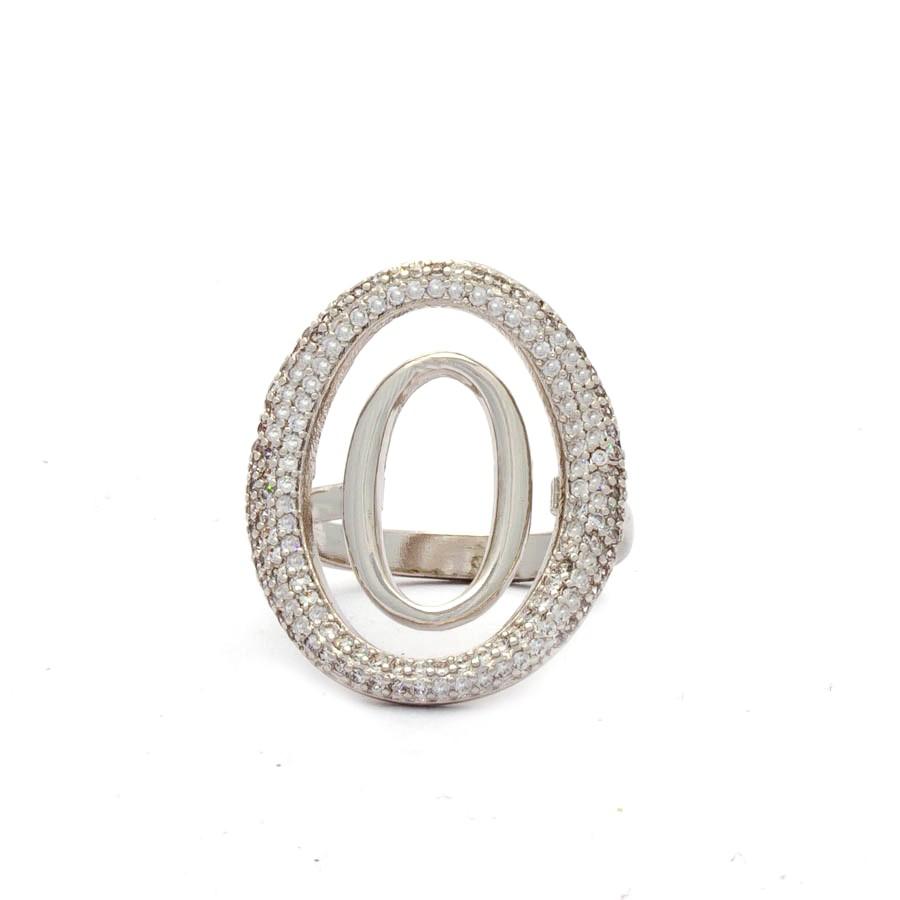 Anel Oval Cravejado Zirconia Banhado Ródio Branco