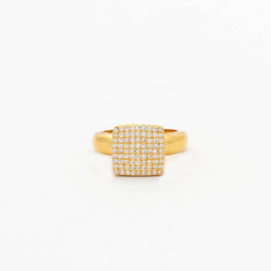 Anel quadrado cravejado banhado ouro 18k