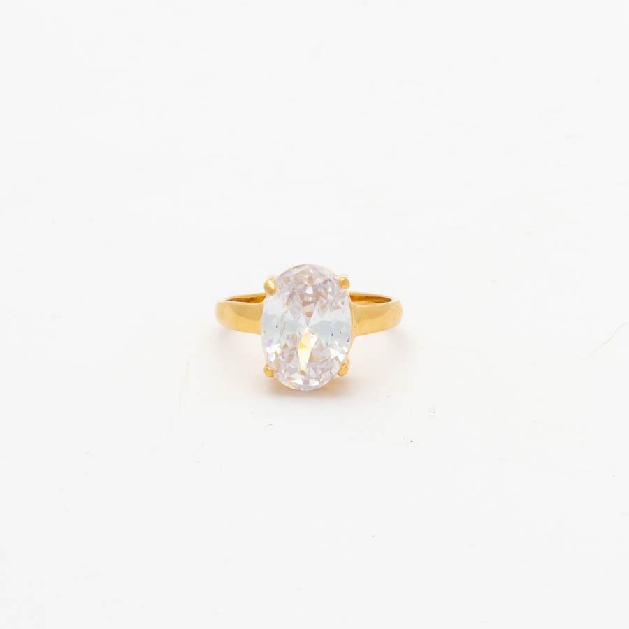 Anel Solitário Cristal Banhado Ouro 18 k