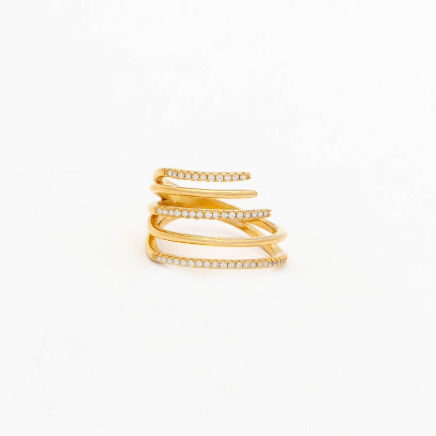 Anel Tipo Mola Cravejado Banhado Ouro 18k
