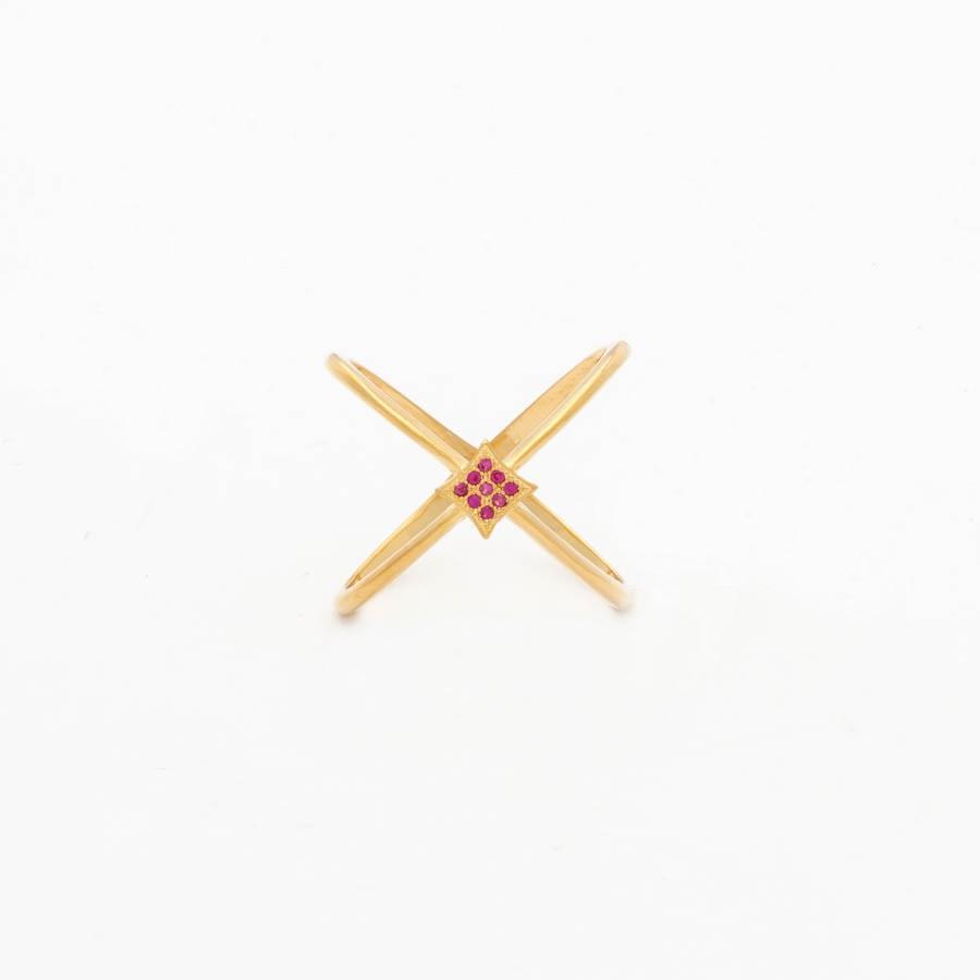 Anel X  Balão Zircónia Vermelho banhado Ouro 18k