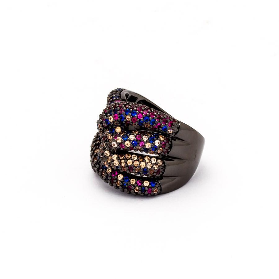 Anel  zirconia colorido banhado rodio negro
