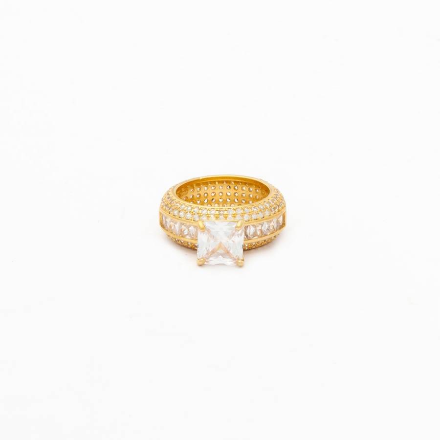 Anel Zircônia com Pedra Carrê banhado ouro 18k