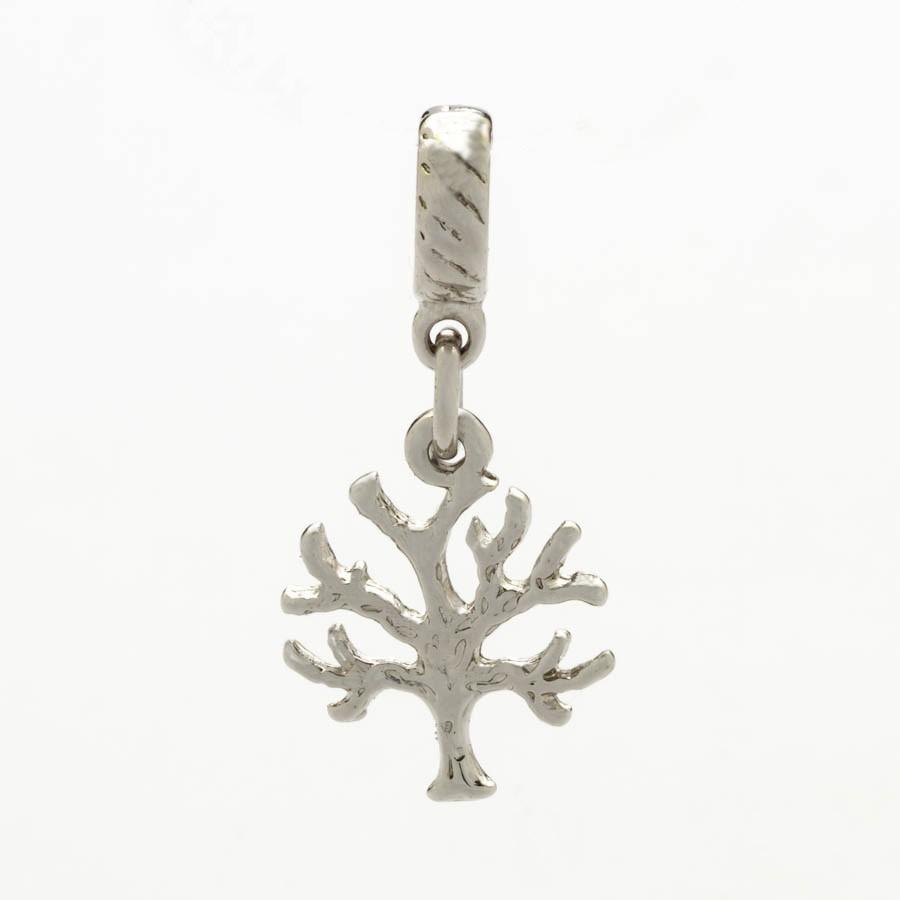 Berloque Árvore Da Vida  Banhado Ródio Branco