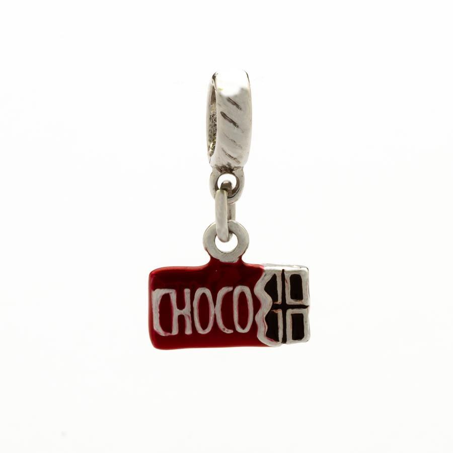 Berloque barra chocolate resina banhada Ródio branco