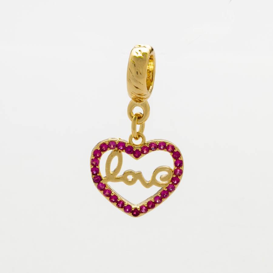 Berloque Coração Love Zirconia Rosa Banhada Ouro18k