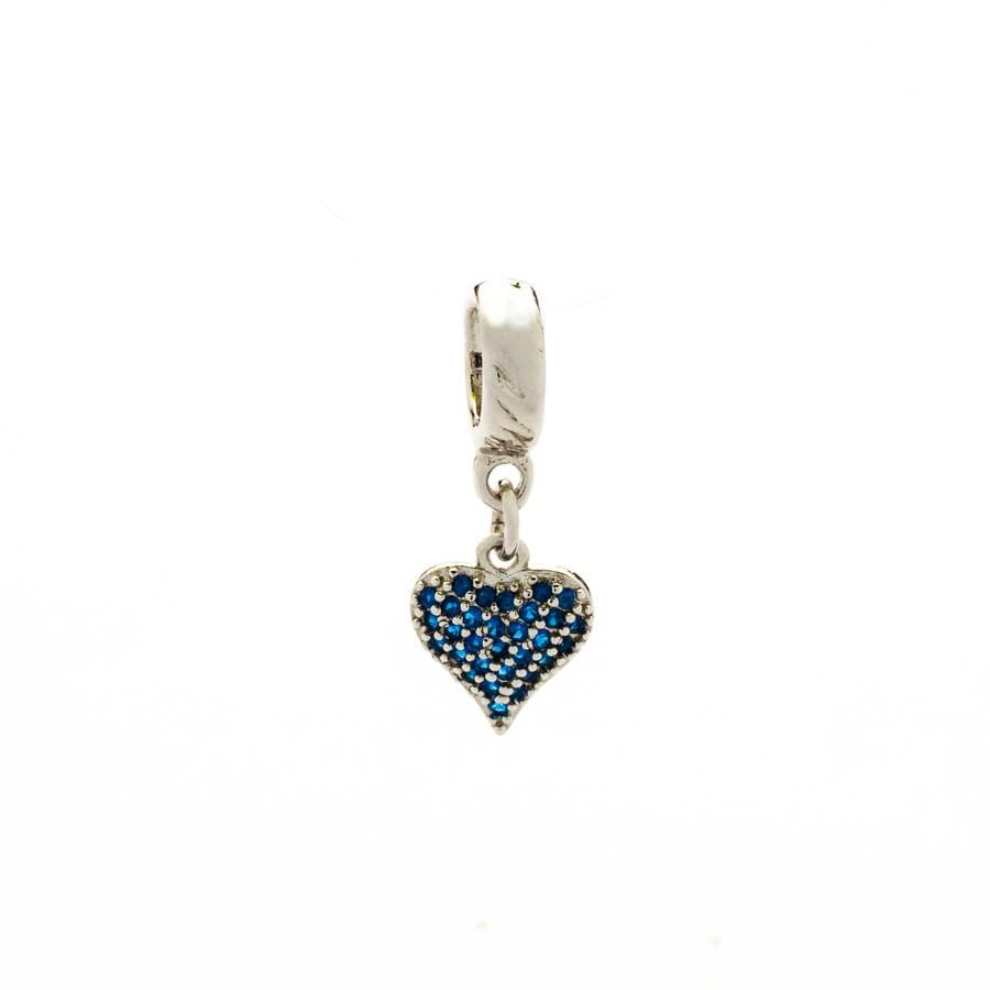 Berloque Coração Zirconia Azul Ródio Branco