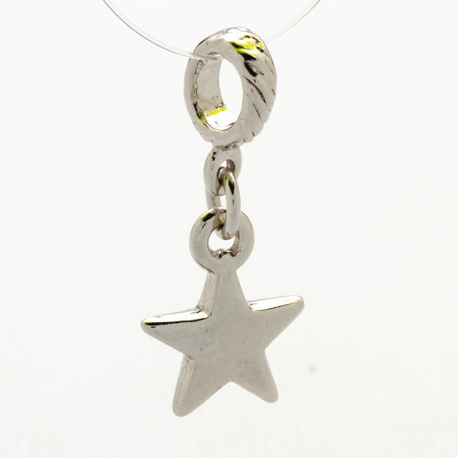 Berloque Estrela Banhada Ródio Branco