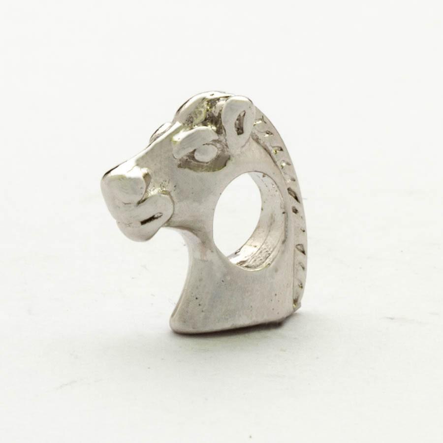 Berloque Separador Cavalo Banhado Ródio Branco