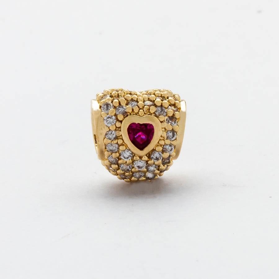 Berloque Separador Coração Vermelho Banhado Ouro 18k