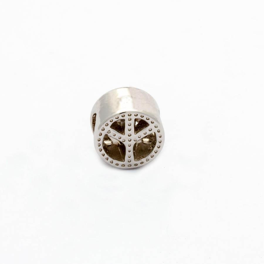 Berloque separador simbolo paz  Banhado Ródio branco