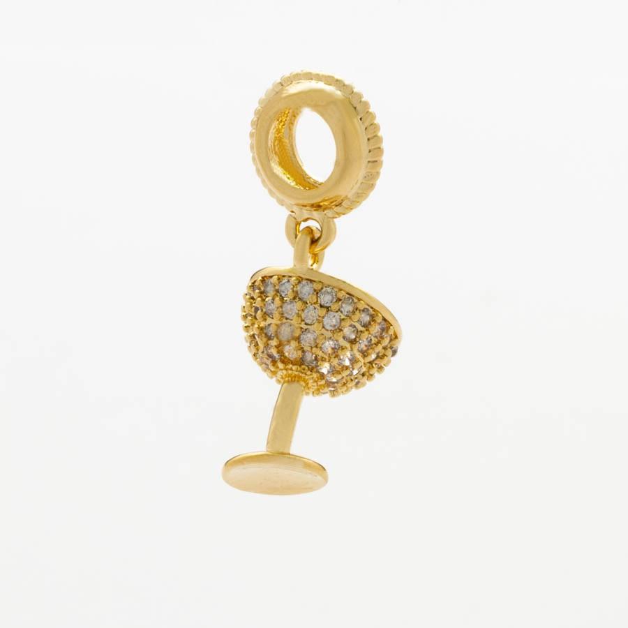 Berloque Taça Cravejado Banhado Ouro18k