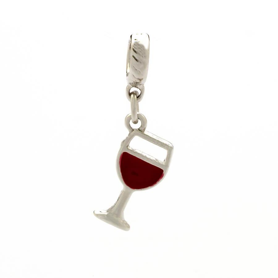 Berloque Taça de Vinho Banhado Ródio Branco