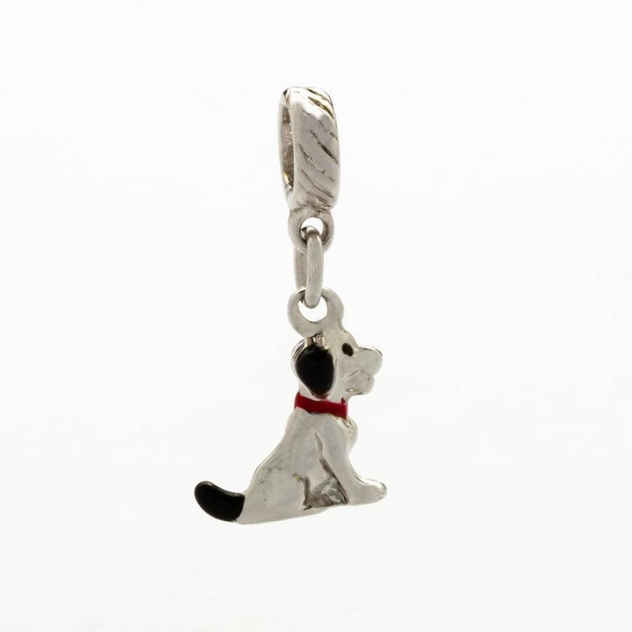 Berloques cachorro resina banhado Ródio branco