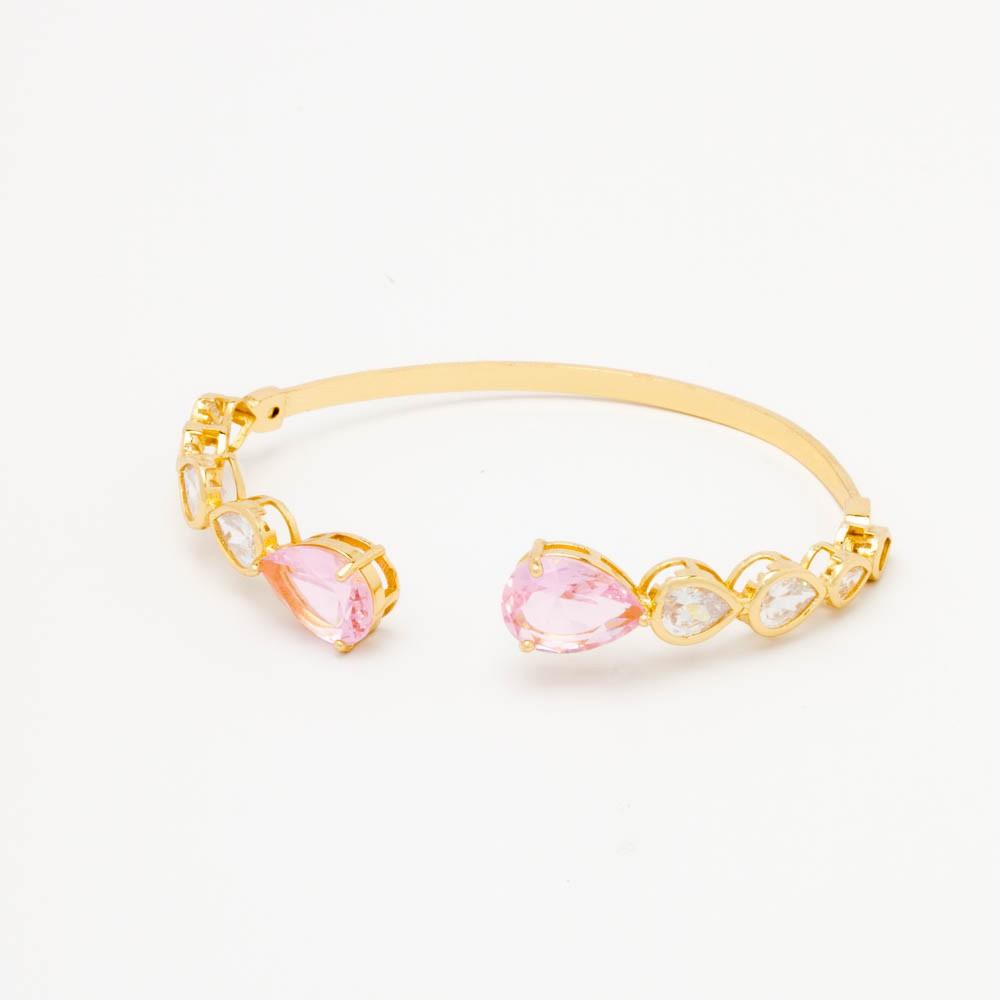 Bracelete 10 gotas cristal banhado em ouro 18 k
