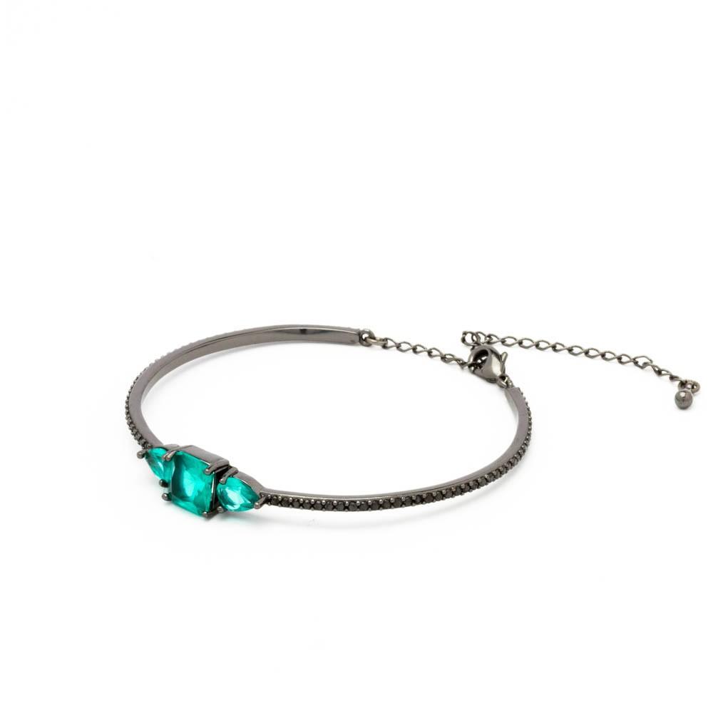 Bracelete aro 3 cristais colors banhado em ródio negro