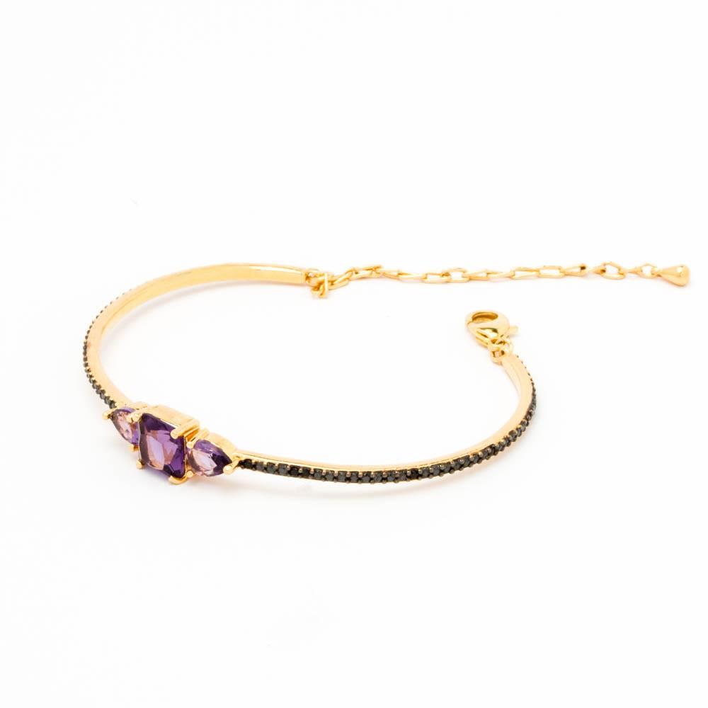 Bracelete aro 3 cristais colors dourado banhado em ouro 18 k