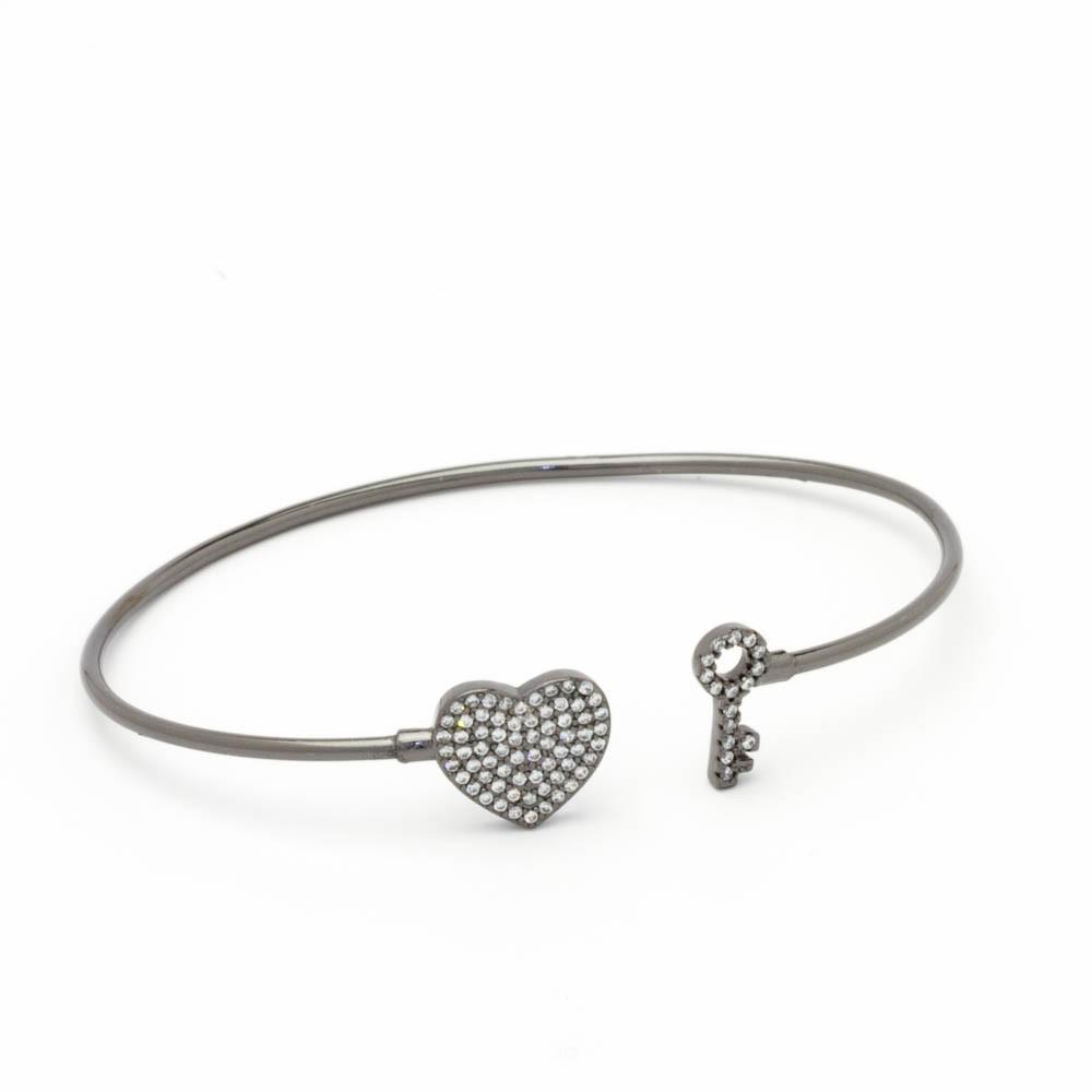 Bracelete aro c/ chave e coração banhado em ródio negro