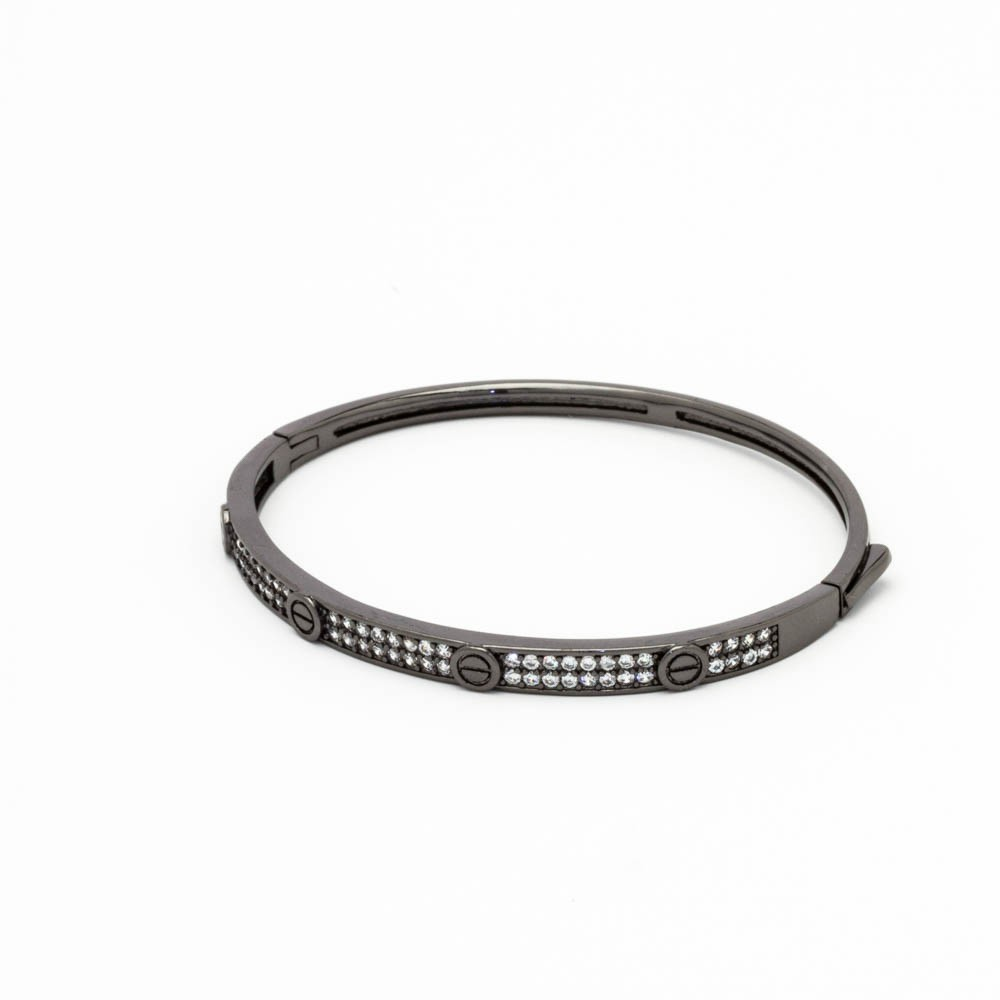 Bracelete cravejado c/ partes lisas banhado em ródio negro