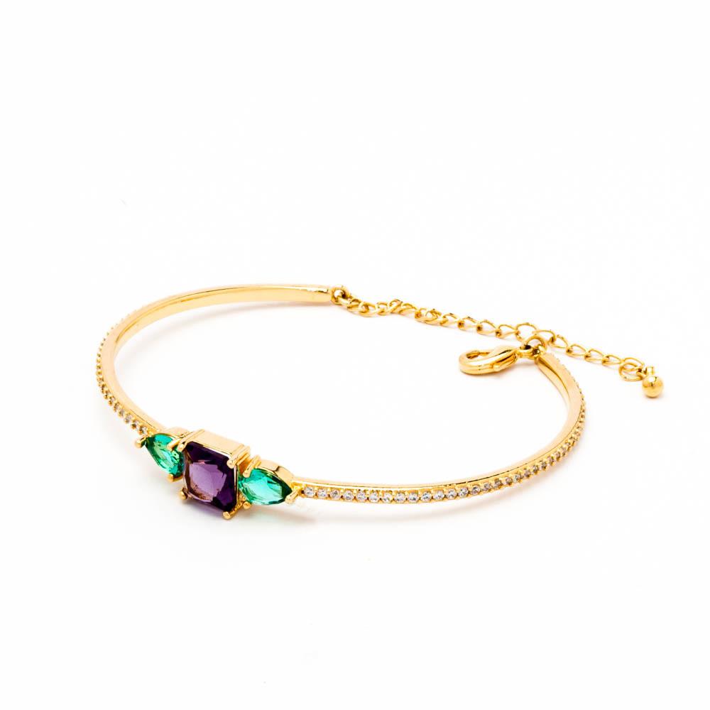 Bracelete cravejado e cristais colors banhado em ouro 18K
