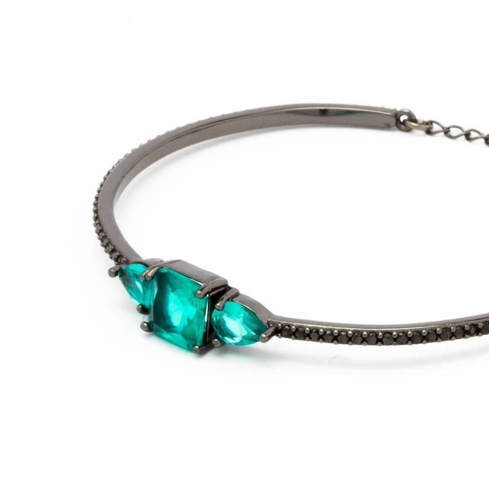 Bracelete cravejado e cristais colors banhado em ródio negro