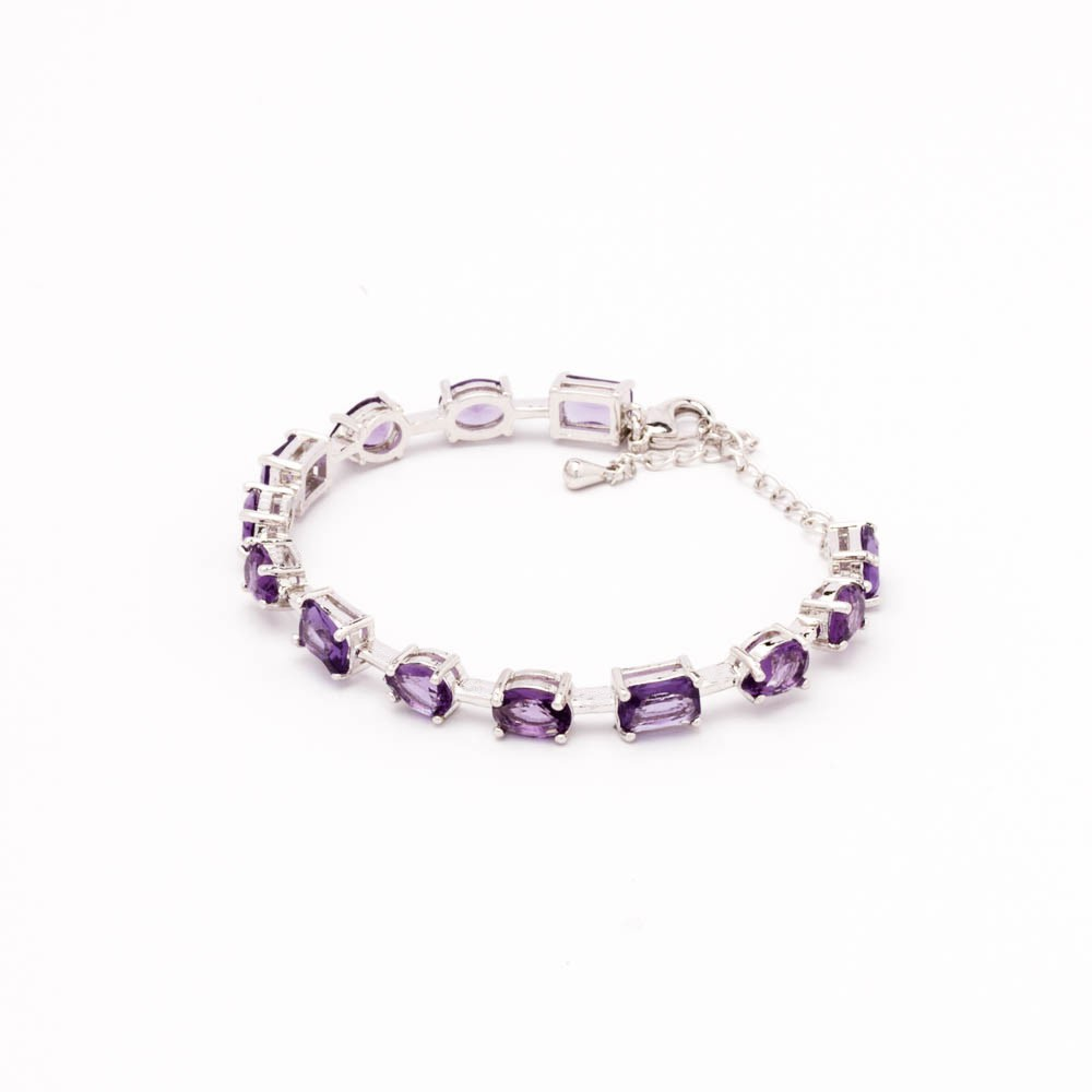 Bracelete cristais coloridos banhado em ródio branco