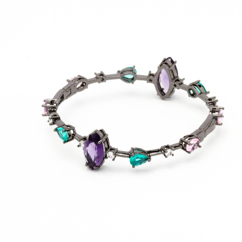Bracelete cristais coloridos banhado em  ródio negro