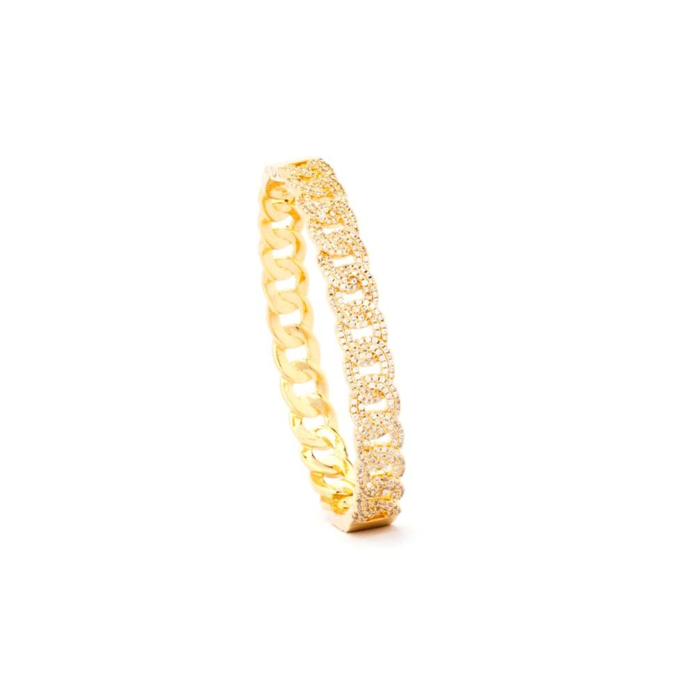 Bracelete Elos Grumet Cravejados Banhado Ouro 18k