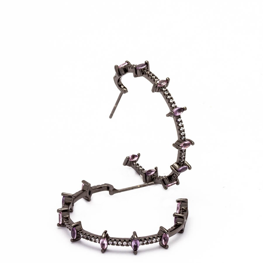Brinco Argola 9 navetes cristal zirconia banhado ródio negro