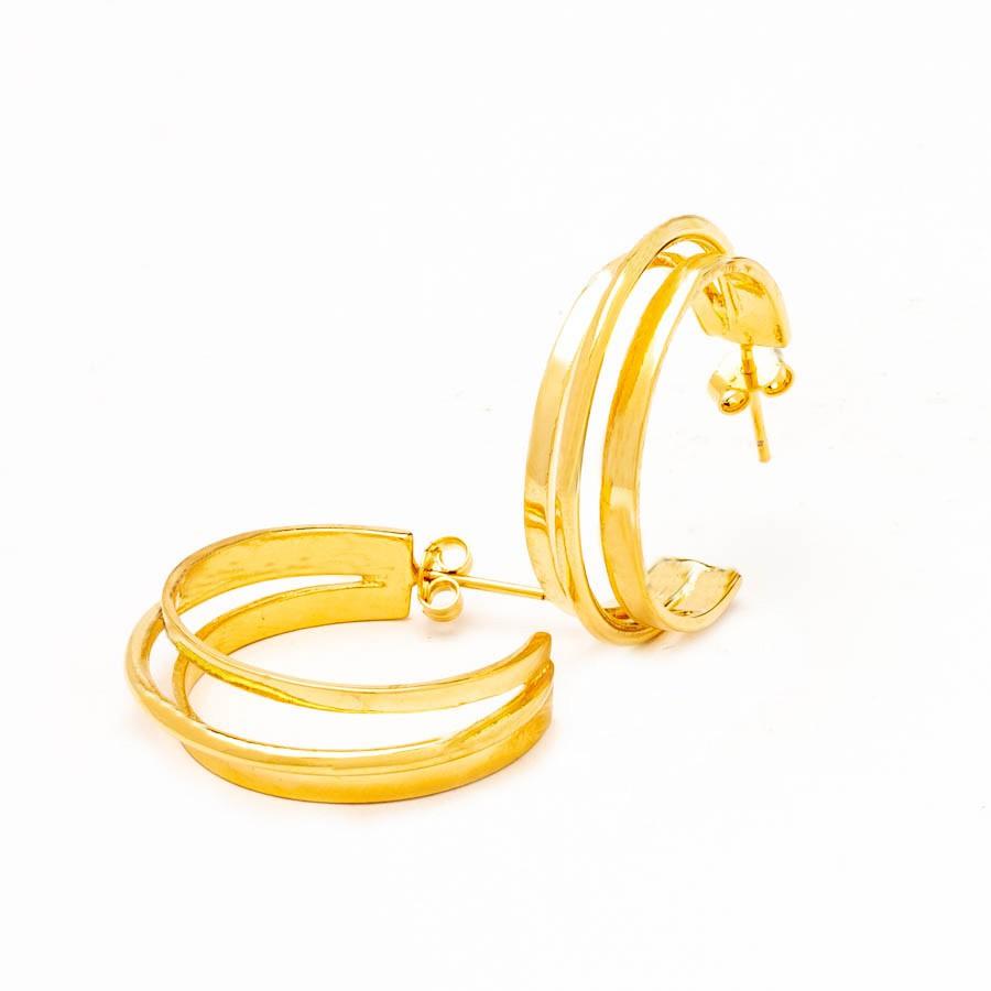 Brinco Argola Aro Triplo banhado Ouro 18k