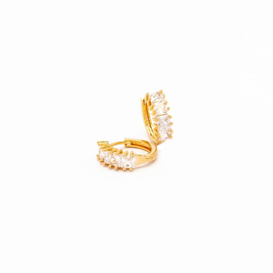 Brinco Argola Clic Cristal Banhado Ouro 18k