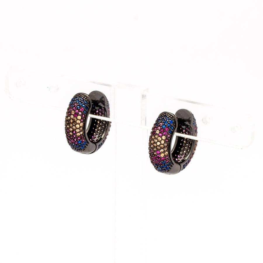 Brinco argola crav. zirconia colorida banhada Ródio negro