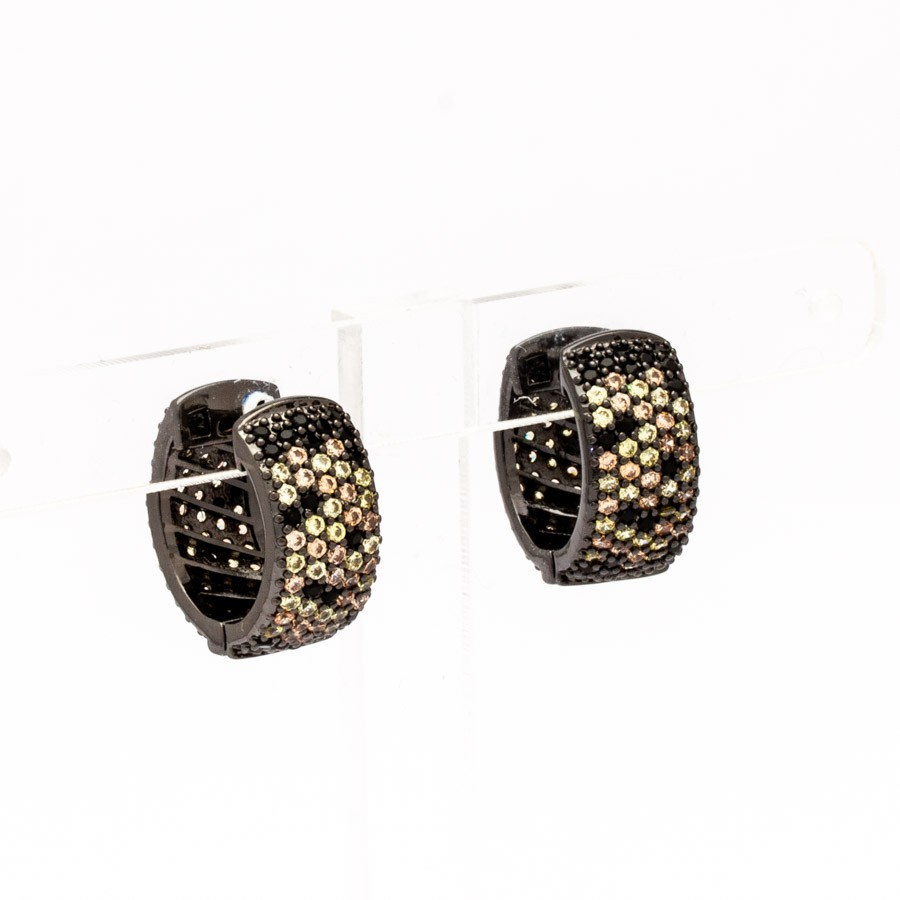 Brinco argola crav. zirconia coloridas banhada Ródio negro