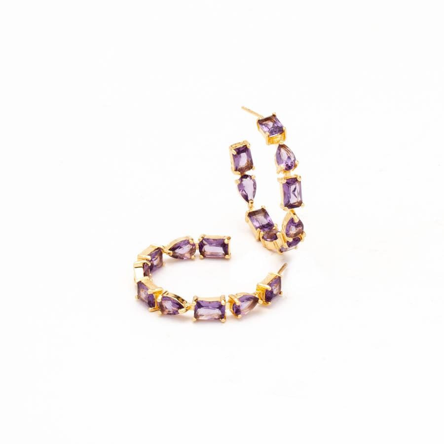 Brinco argola média cristais colors banhado ouro 18 k